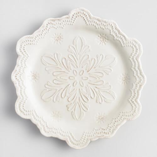 Embossed Snowflake Dinner Plates, Set of 4
