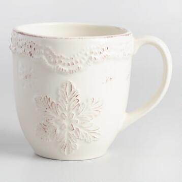 Embossed Snowflake Mugs, Set of 4