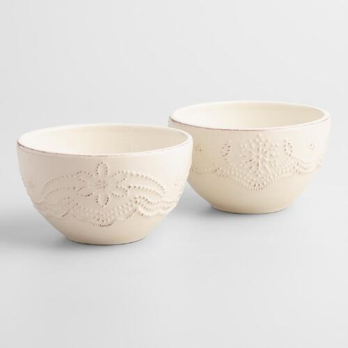 Embossed Snowflake Bowls, Set of 4