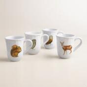 Woodland Creatures Fluted Mugs, Set of 4