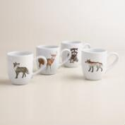 Woodland Creatures Coupe Mugs, Set of 4