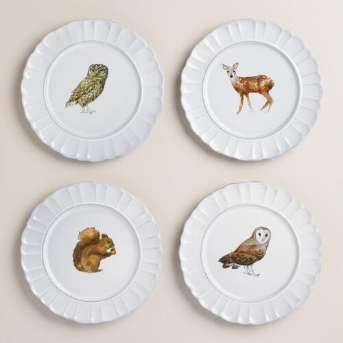 Woodland Creatures Fluted Plates, Set of 4