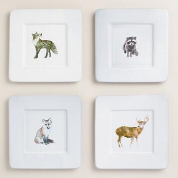 Woodland Creatures Square Plates, Set of 4