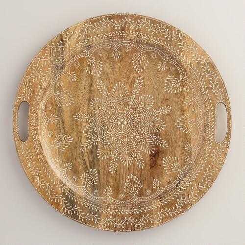 Large Round Wood Valeria Tray