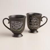 Holiday Chalk Script Mugs, Set of 4