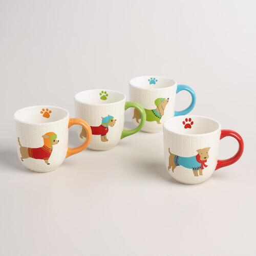 Holiday Dog Mugs, Set of 4