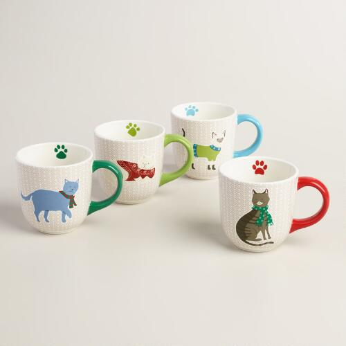 Holiday Cat Mugs, Set of 4