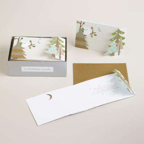 Woodland Wonder Die Cut Boxed Holiday Cards, Set of 15