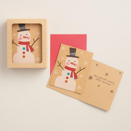 Glittery Snowman Boxed Holiday Cards, Set of 15