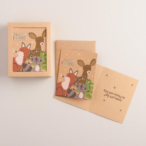 Fox,  Deer and Raccoon Boxed Holiday Cards, Set of 15