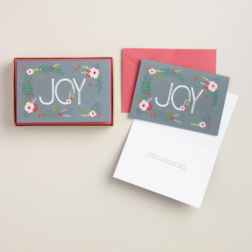 Joyous Bouquet Boxed Holiday Cards, Set of 15
