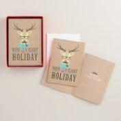 Kraft Reindeer with Glasses Boxed Holiday Cards, Set of 15
