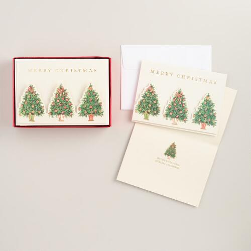 Die Cut Christmas Trees Boxed Holiday Cards, Set of 15