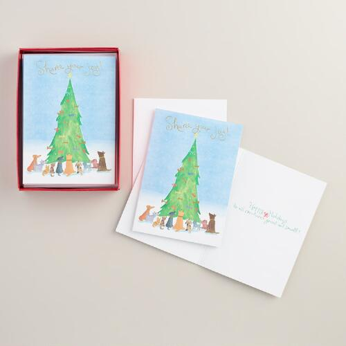 Share Your Joy Boxed Holiday Cards,   Set of 15
