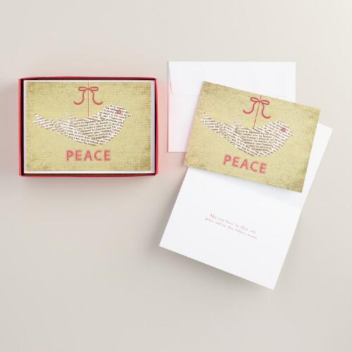 Newsprint Peace Dove Boxed Holiday Cards, Set of 15