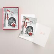 Boy Peeking Up Chimney Boxed Holiday Cards, Set of 15