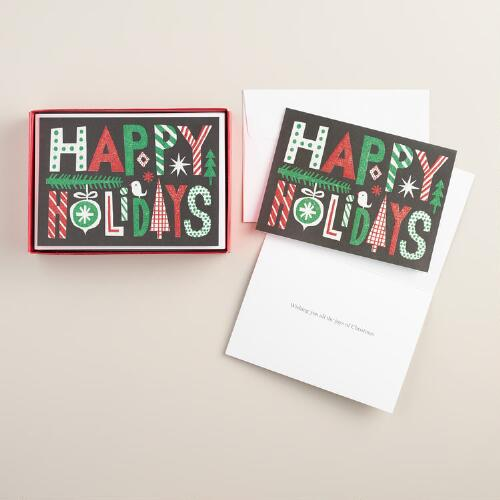 Happy Holidays Boxed Holiday Cards, Set of 15