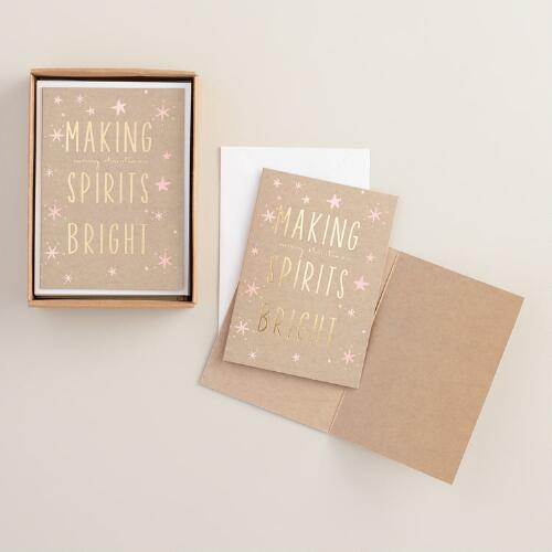 Making Spirits Bright Boxed Holiday Cards, Set of 15
