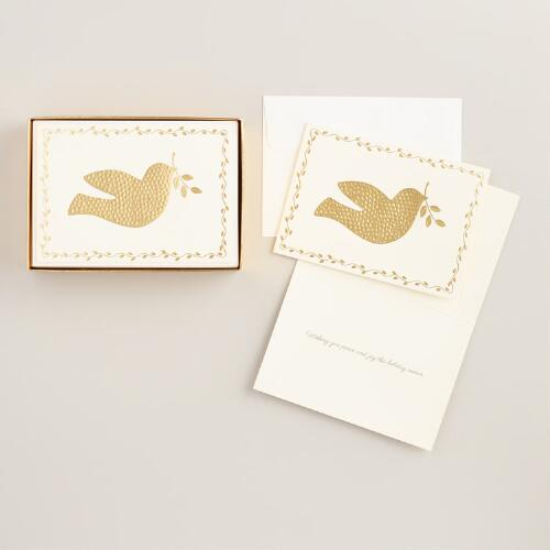 Gold Hammered Dove Boxed Holiday Cards, Set of 15