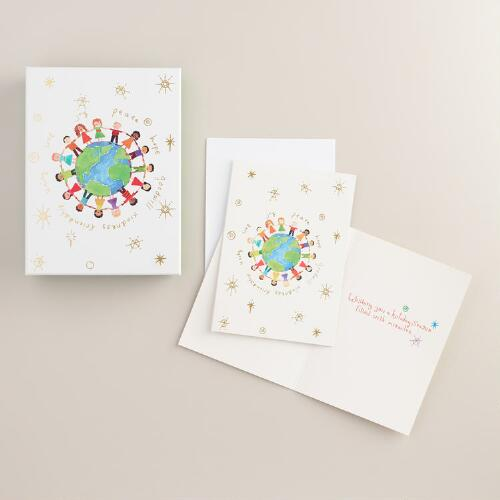 Large Global Kids Boxed Holiday Cards, Set of 20