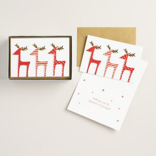 Three  Reindeer in a Row Boxed Holiday Cards, Set of 15