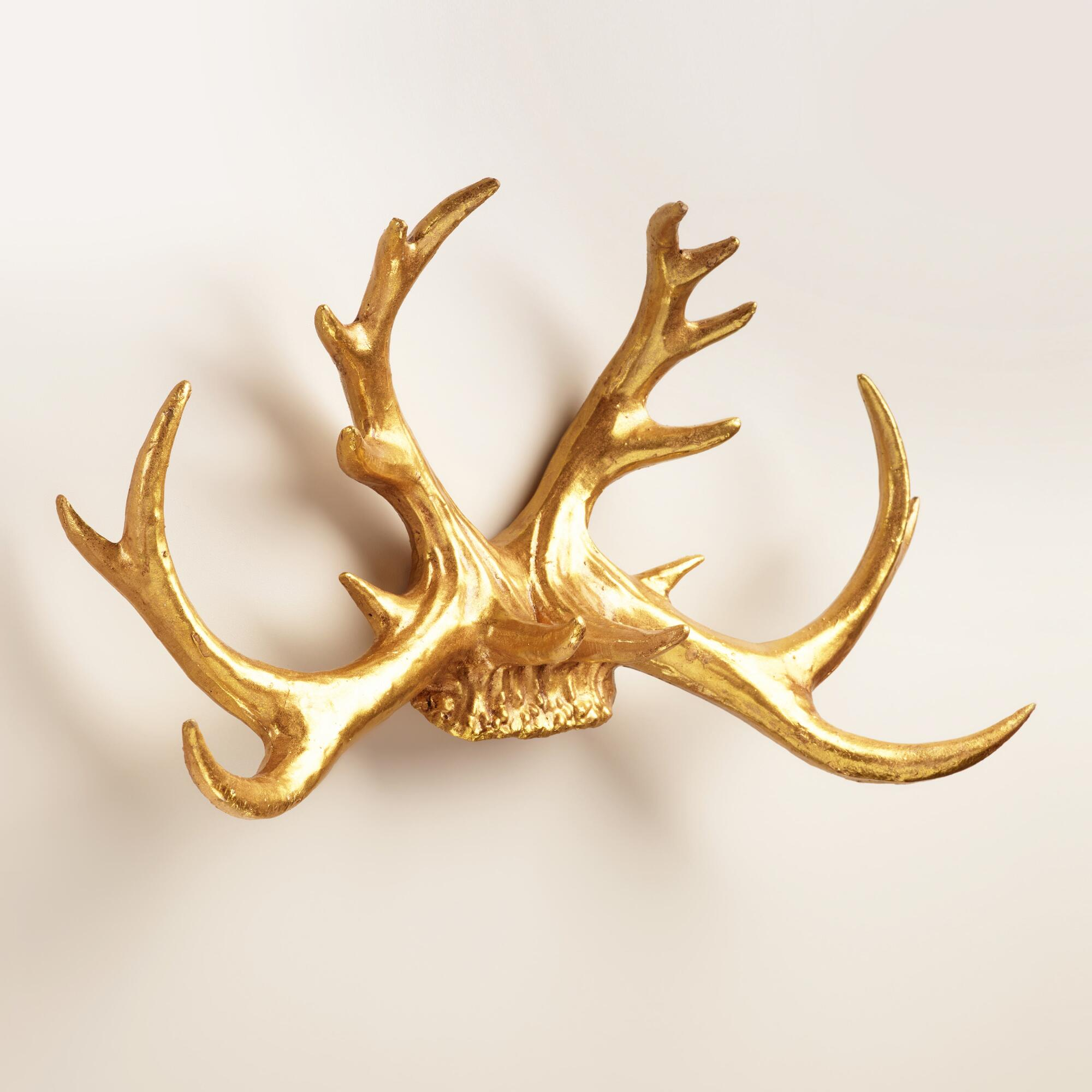 Gold antler wall decor world market for Gold wall art