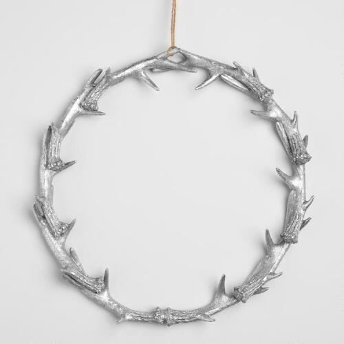 Large Silver Antler Wreath