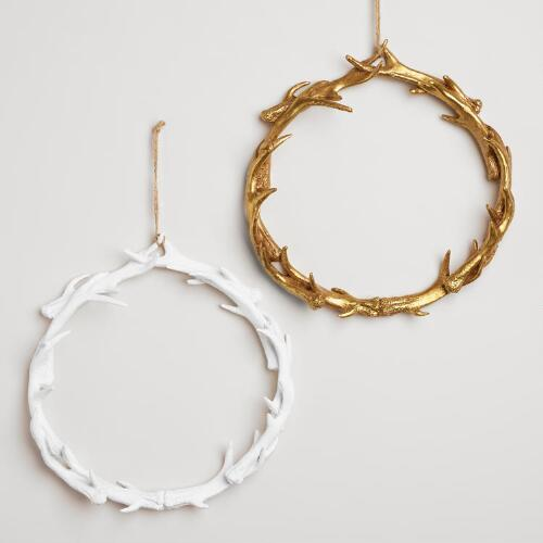 Small Gold and White Antler Wreaths, Set of 2