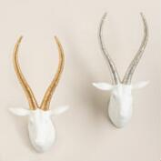 Springbok Heads with Metallic Antlers