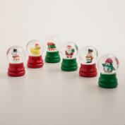 Red and Green Mini Holiday Snow Globes, Set of 6