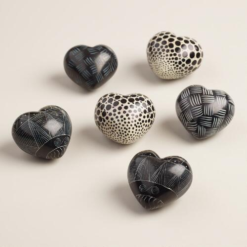 Black and White Soapstone Hearts, Set of 6