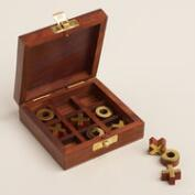 Wood and Brass Tic-Tac-Toe Set