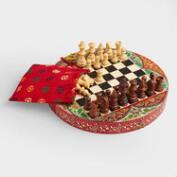 Round Hand-Painted Chess Set