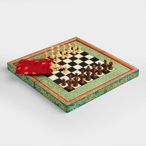 Square Hand-Painted Chess Set