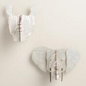Medium Elephant and Rhino Wall Bust Kits, Set of 2