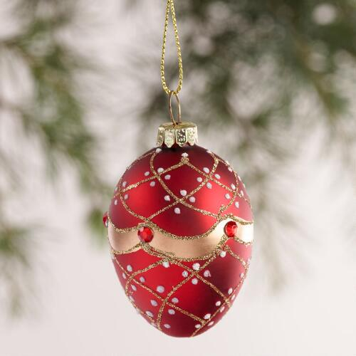 Glass Egg Ornaments, Set of 6