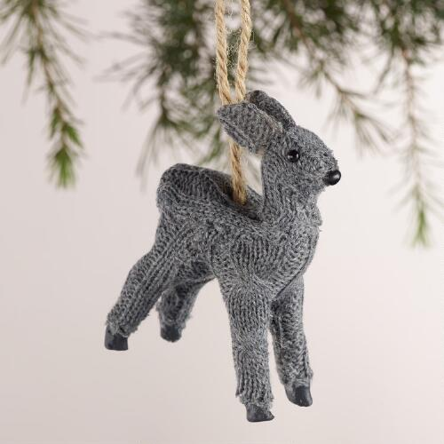 Knit Deer Ornaments, Set of 3