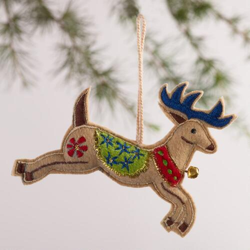 Embroidered Fabric Reindeer Ornaments, Set of 2