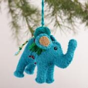 Embroidered Felt Elephant Ornaments, Set of 3