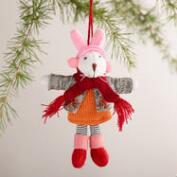 Felt Snow Bunny Ornaments, Set of 2
