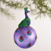 Glass Ball Peacock Ornaments, Set of 2