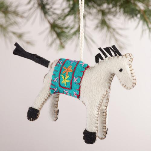 Felt Horse Ornaments, Set of 3