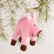 Felt Pig Ornaments, Set of 2