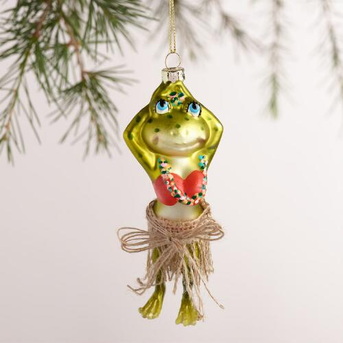Glass Hula Frog Ornaments, Set of 2