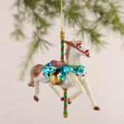Glass Carousel Horse Ornaments, Set of 2