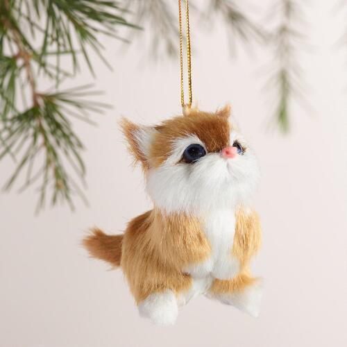 Fabric Cat Ornaments, Set of 3