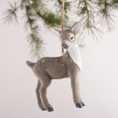 Fabric Deer Ornaments, Set of 4