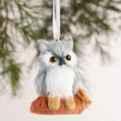 Fabric Owl on Log Ornaments, Set of 2