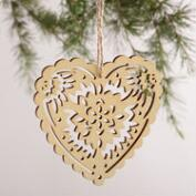 Laser-Cut Wood Heart Ornaments, Set of 3