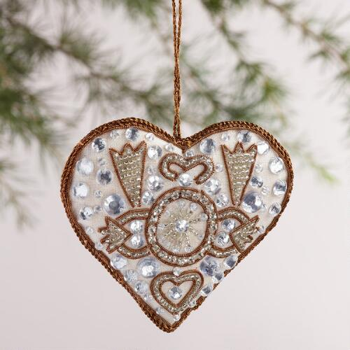 Fabric Crystal Heart Ornaments, Set of 2